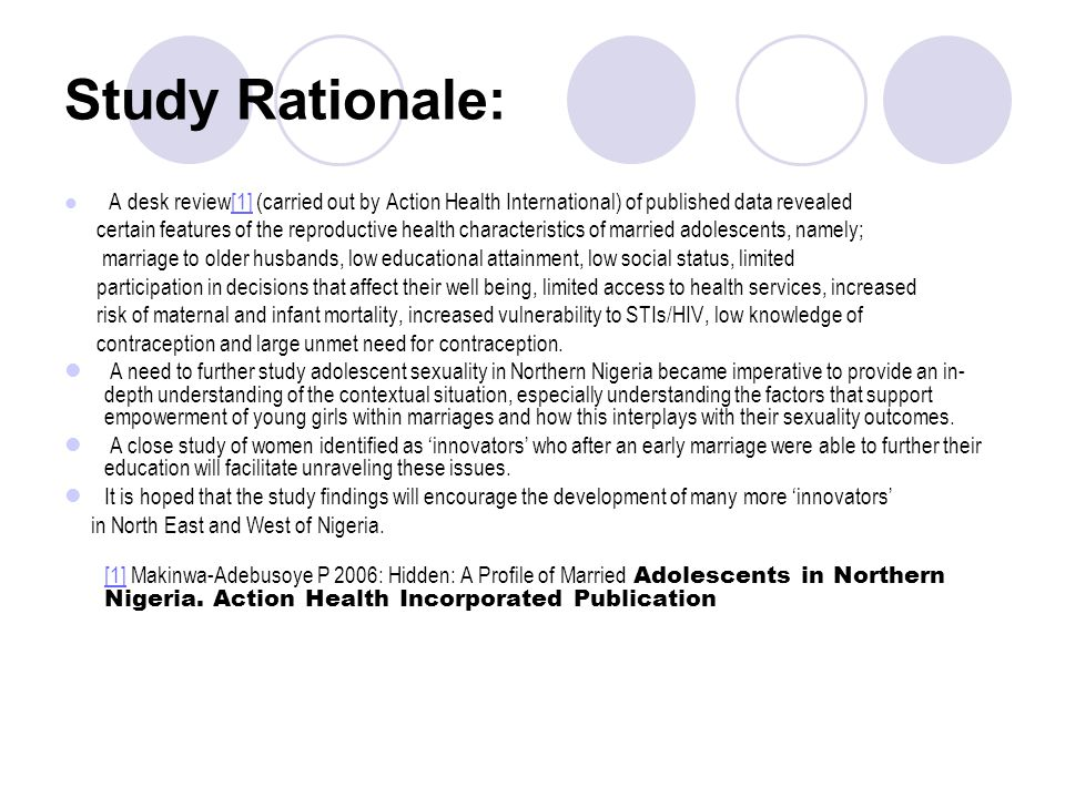 Study Rationale: A desk review[1] (carried out by Action Health International) of published data revealed.